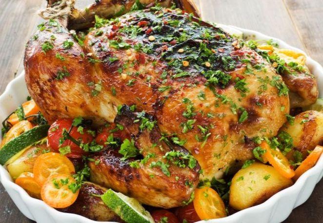 жареная курица с картошкой